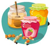 Sucres, confitures, miel et confiseries